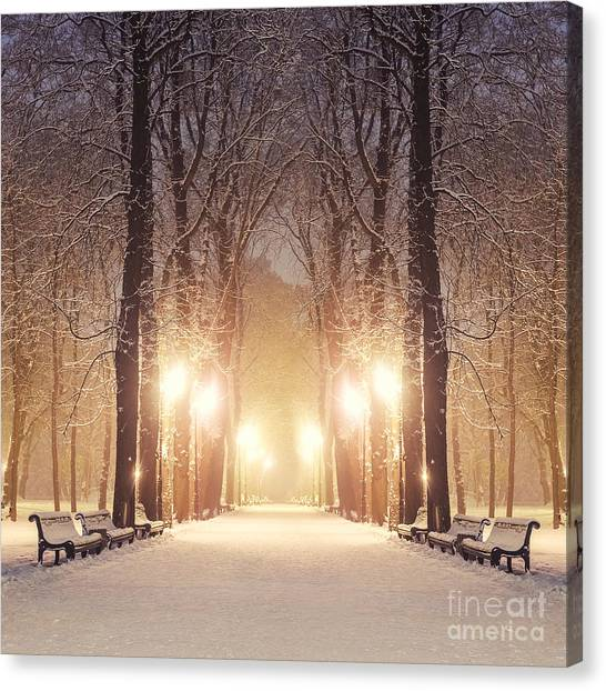 Urban Life Canvas Print - Footpath In A Fabulous Winter City Park by Beerlogoff