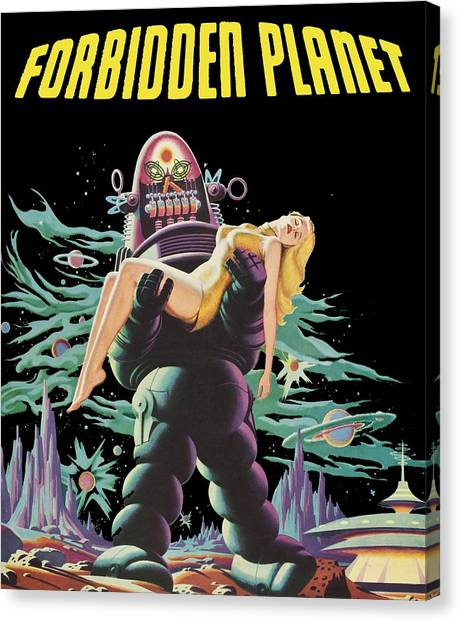 Forbidden Planet Canvas Print - Forbidden Planet Vintage Movie Poster by Filip Hellman