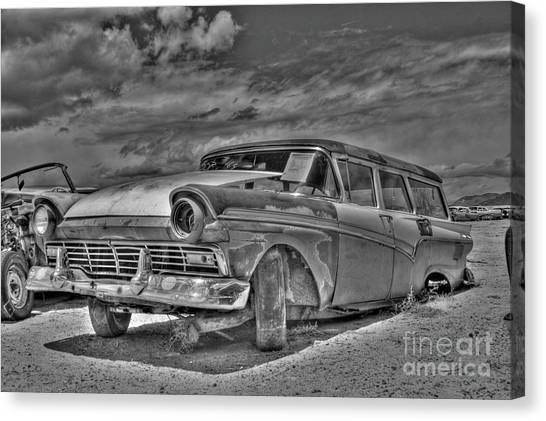 Ford Country Squire Wagon - Bw Canvas Print