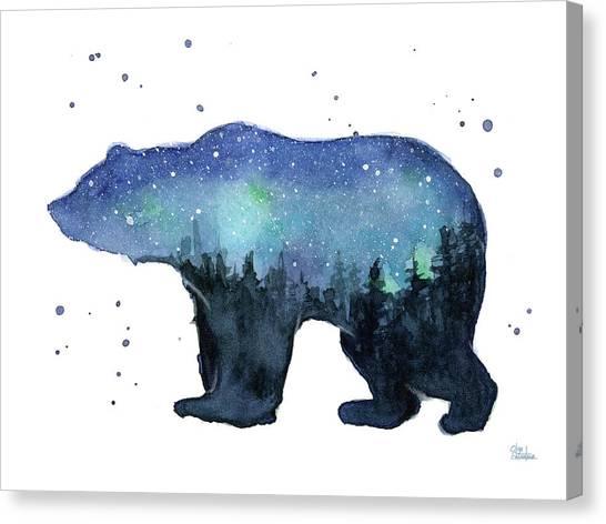 Constellations Canvas Print - Forest Bear Watercolor Galaxy by Olga Shvartsur