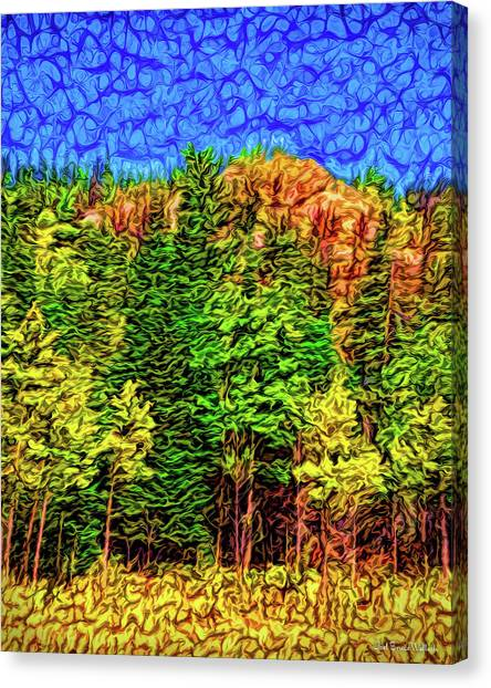 Canvas Print featuring the digital art Forest Canyon Morning by Joel Bruce Wallach