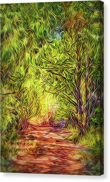Canvas Print featuring the digital art Forest Trail Journey by Joel Bruce Wallach