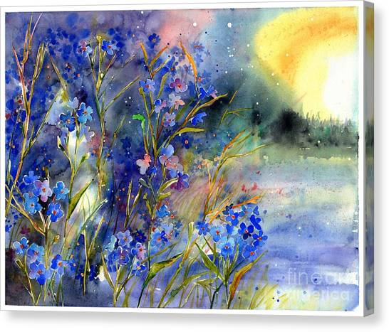 Blueberries Canvas Print - Forget-me-not Watercolor by Suzann's Art