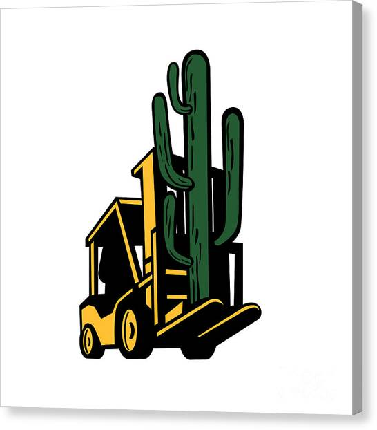Forklifts Canvas Print - Forklift Truck Lifting Cactus Plant Retro by Aloysius Patrimonio