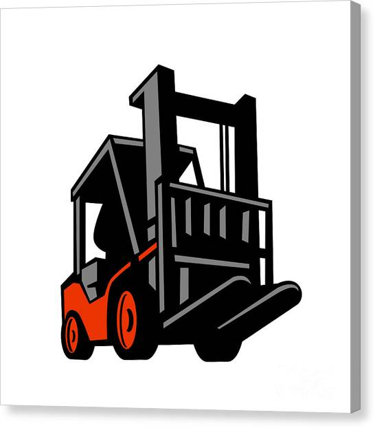 Forklifts Canvas Print - Forklift Truck Low Angle Retro by Aloysius Patrimonio