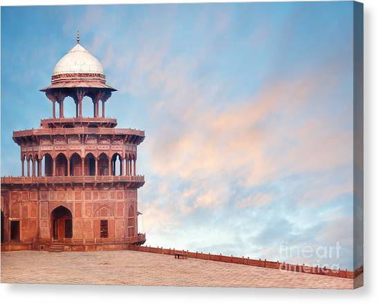 Fortification Canvas Print - Fort Tower, Detail Of Taj Mahal by Serg Zastavkin