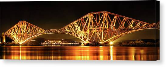 Canvas Print featuring the photograph Forth Railway Bridge - Night by Grant Glendinning