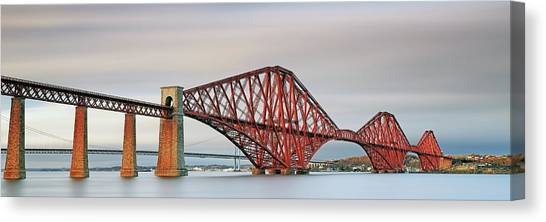 Canvas Print featuring the photograph Forth Railway Bridge - South Queensferry by Grant Glendinning