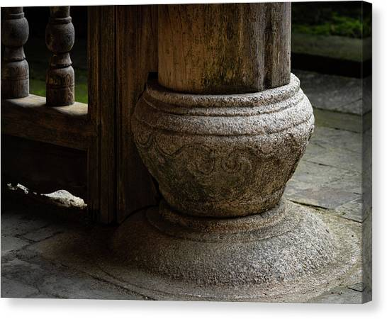 Foundation Stone Under Wooden Pole Used In Chinese Architecture Canvas Print