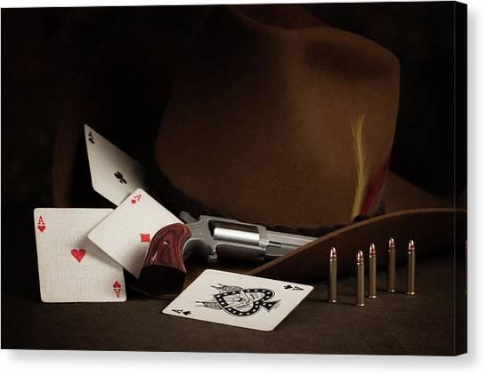 Cowboy Canvas Print - Four Aces Still Life by Tom Mc Nemar