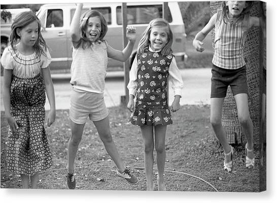 Four Girls, Jumping, 1972 Canvas Print
