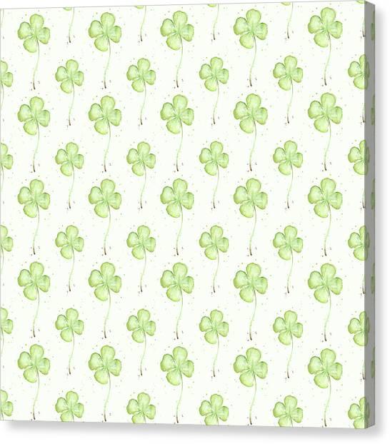 Lucky Canvas Print - Four Leaf Clover Lucky Charm Pattern by Olga Shvartsur