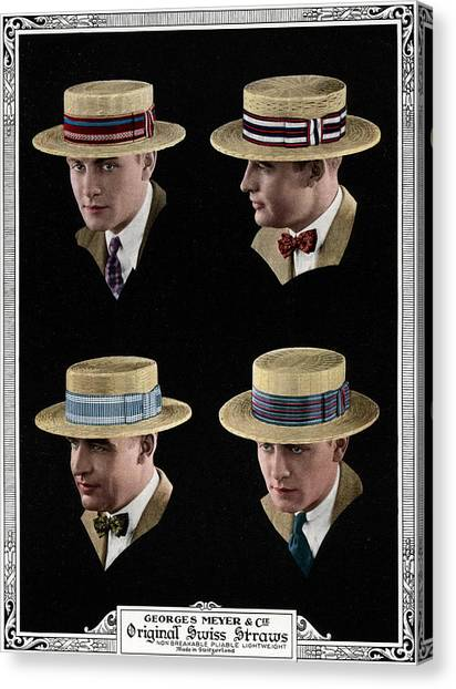 Four Men Wearing Boater Hats Canvas Print