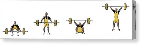 Four Stages Of Weightlifter Lifting Canvas Print
