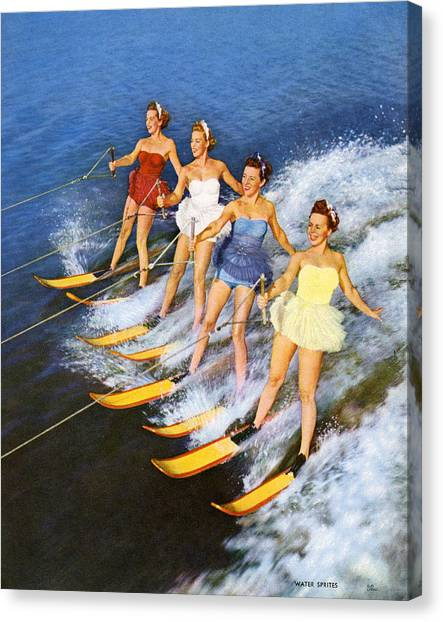 Four Women Waterskiing Canvas Print