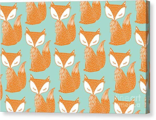 Woodland Canvas Print - Fox Background Vectorillustration by Lyeyee