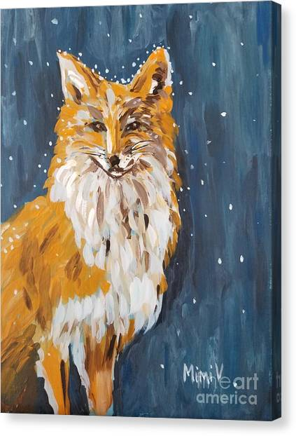 Canvas Print featuring the painting Fox Winter Night by Maria Langgle