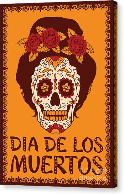 Mexico Canvas Print - Frame With Mexican Skull Girl by Rvvlada