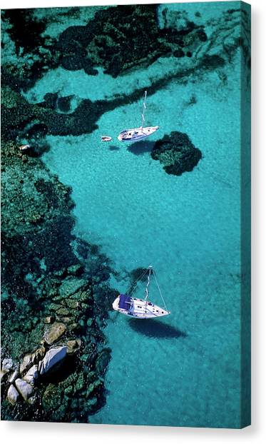 France, Corse Du Sud, Boats Anchored In Canvas Print