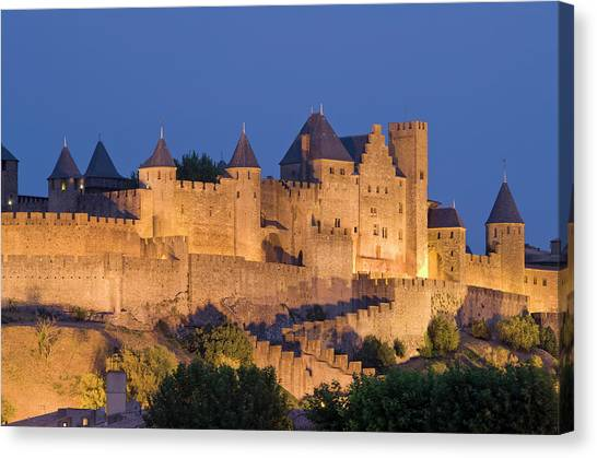 France, Languedoc, Carcassonne, Castle Canvas Print