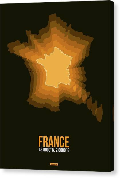 French Canvas Print - France Radiant Map 3 by Naxart Studio