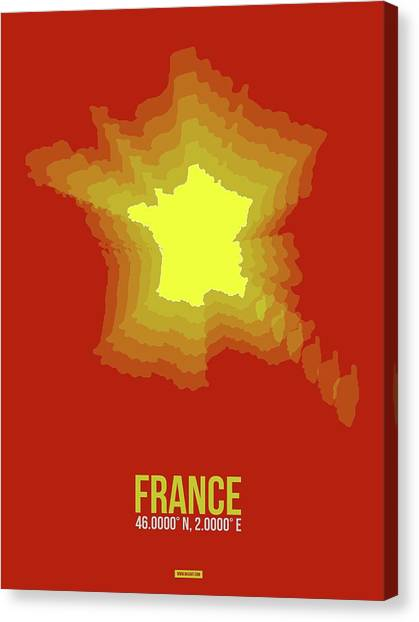 French Canvas Print - France Radiant Map I by Naxart Studio