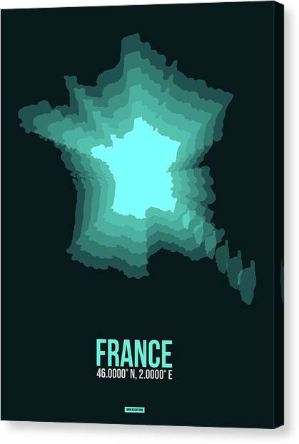 French Canvas Print - France Radiant Map II by Naxart Studio