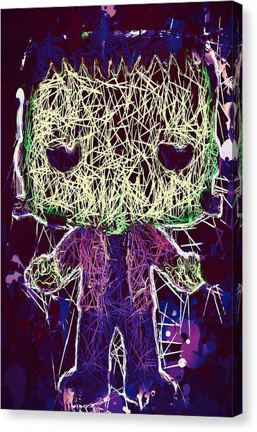 Canvas Print featuring the mixed media Frankenstein Pop by Al Matra