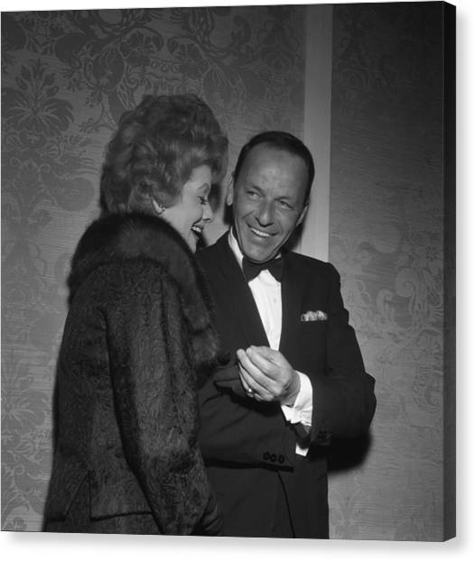Frank Sinatra And Lucille Ball Canvas Print by Michael Ochs Archives