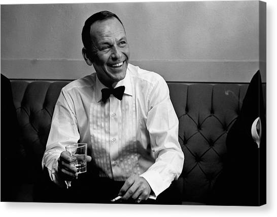 Frank Sinatra Backstage At The Sands Canvas Print by John Dominis