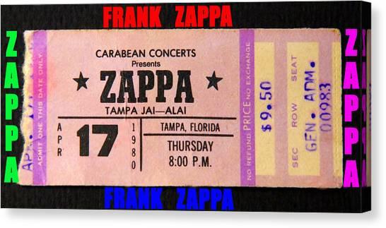 Frank Zappa Canvas Print - Frank Zappa 1980 Concert Ticket by David Lee Thompson