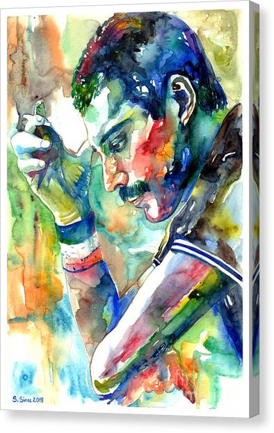 Live Canvas Print - Freddie Mercury With Cigarette by Suzann Sines