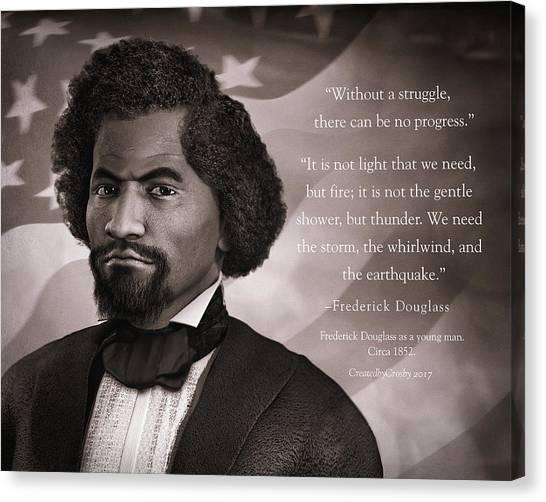 Us Civil War Canvas Print - Frederick Douglass As A Young Man by Darryl Crosby