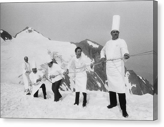 French Chefs At L Alpe D Huez In 1983 Canvas Print