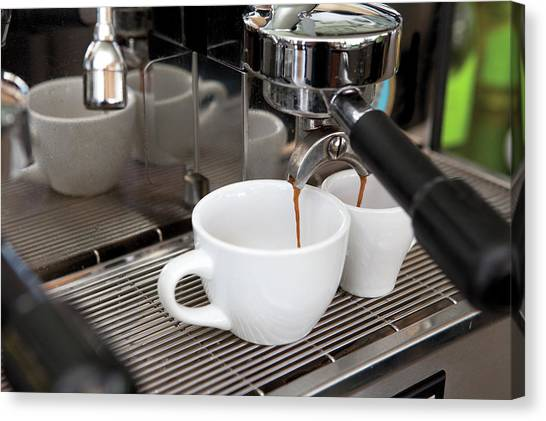 Fresh Espresso Pouring From Machine Canvas Print