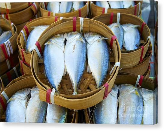 Fish Market Canvas Print - Fresh Fish In Baskets On Bangkok Street by Dan Howell