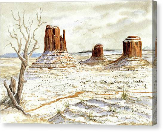 Canvas Print - Fresh Snow In Monument Valley by Marilyn Smith