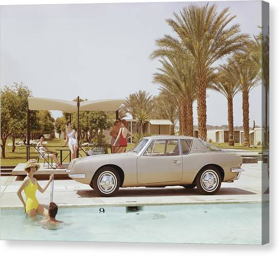 Friends Having Fun Near Pool Canvas Print