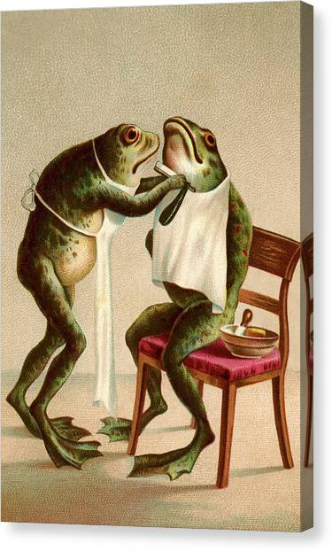 Frog Getting A Shave Canvas Print by Graphicaartis