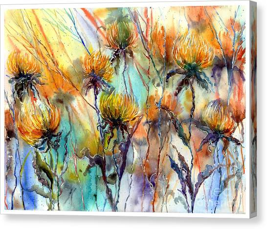 January Canvas Print - Frozen Chrysanthemums by Suzann Sines