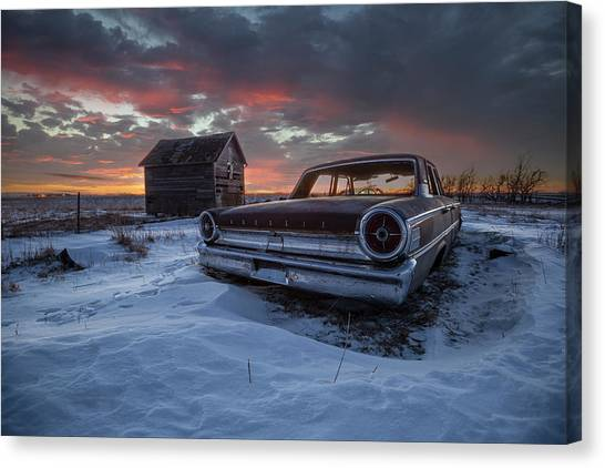 Canvas Print featuring the photograph Frozen Galaxie 500  by Aaron J Groen