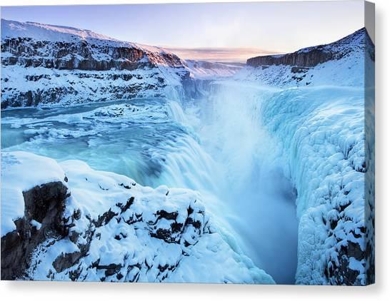 Frozen Gullfoss Falls In Iceland In Canvas Print by Sara winter