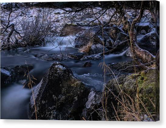Frozen River And Winter In Forest. Long Exposure With Nd Filter Canvas Print