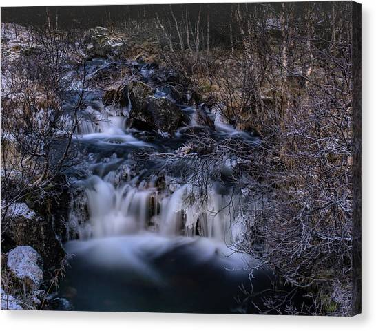Frozen River In Forest - Long Exposure With Nd Filter Canvas Print