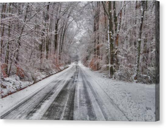 Frozen Road Canvas Print
