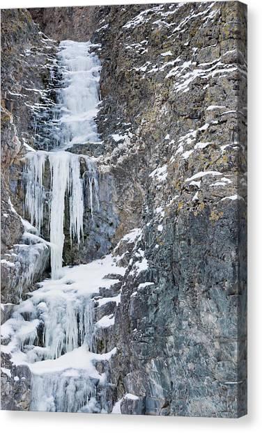 Gobi Canvas Print - Frozen Waterfall, Yolyn Am, Mongolia by Alex Linghorn