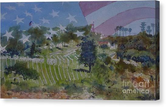 Fort Rosecrans National Cemetery Canvas Print - Ft. Rosecrans - Rest by Ralph Kingery