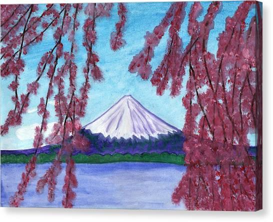 Fuji Mountain And Sakura Canvas Print