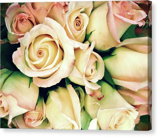 Wedding Bouquet Canvas Print - Full Frame Cross Processed Rose Bouquet by Travelif