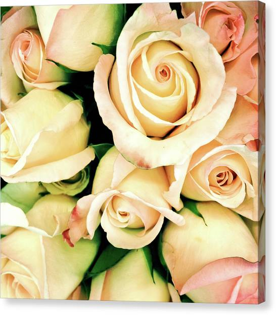 Wedding Bouquet Canvas Print - Full Frame Rose Bouquet Vintage Style - by Travelif